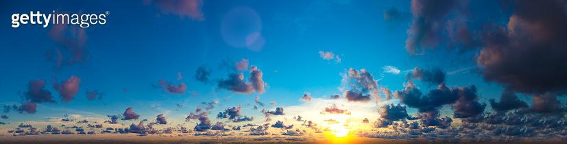 Panoramic sky with sun