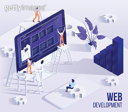 Web development flat banner vector template
