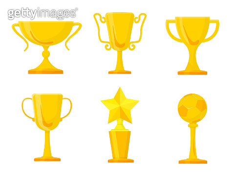 Golden trophies flat illustrations set. Sports achievements cups and goblets. Career goals award isolated clipart. Competition, championship, contest. Winner prizes design elements collection.