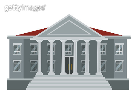 Flat court or government building with six pillars