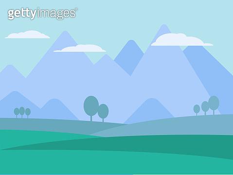 Mountains landscape flat vector illustration