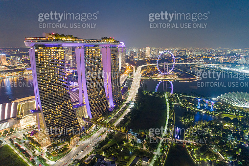 Aerial view Panoramic of the Singapore Skyline and Marina Bay, the marina is the centre of the economy in singapore, there are here all the building in singapore central ed