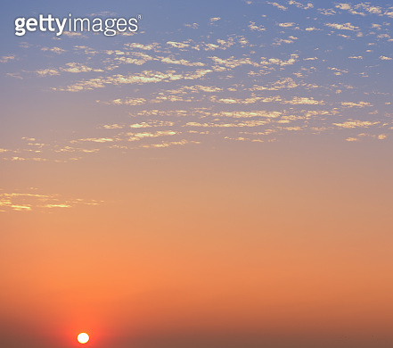 Aerial view dramatic sunset and sunrise sky nature background with white clouds