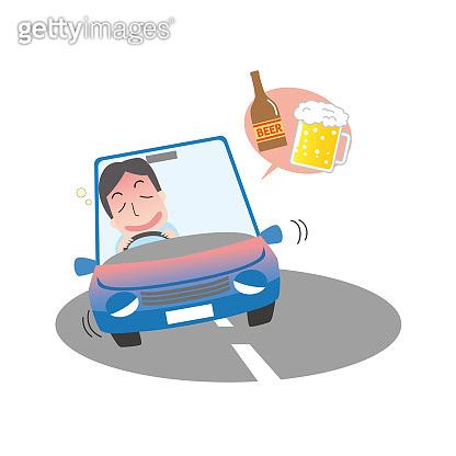 Illustration of drunk driving