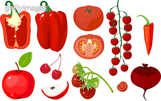 Big set of different red fruits and vegetables isolated on white background