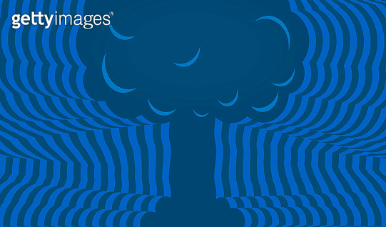 Atomic bomb explossion background with copy space and geometric style.