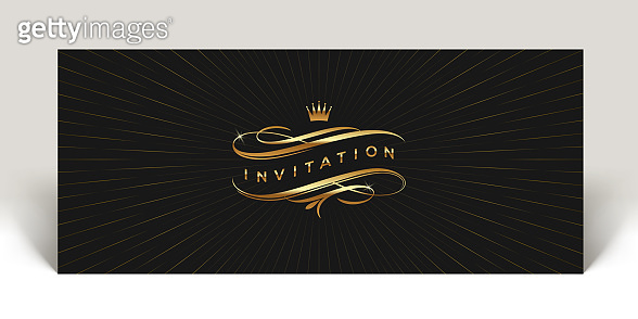 Invitation with golden flourishes elements and crown