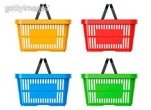 Plastic Basket Set, 3d illustration. 3D render, isolated on white background
