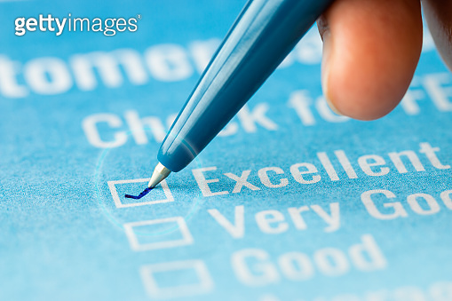 Customer checklist survey exellent form for feedback satisfaction mark over application blue forms document with red pencil. Opinion question botton for filling checkmark for business