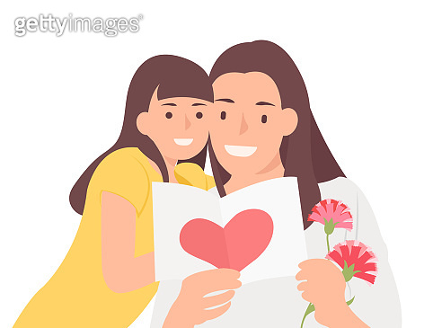 Cartoon people character design happy mother's day daughter and mom cheerfully watching celebration card