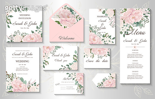 Wedding invitation with flowers Peony and leaves, watercolor, isolated on white.