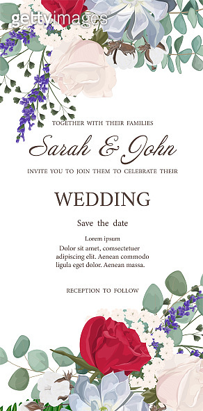 Wedding invitation with flowers and leaves, watercolor, isolated on white.
