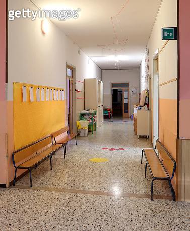 school corridor without the children