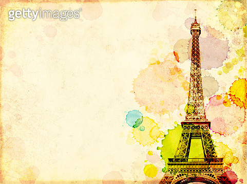 Grunge background with old paper texture, stains of paint and Eiffel Tower