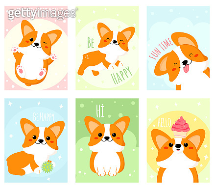 Set of banners with cute corgi dog