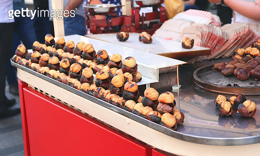 Traditional turkish fast food - roasted chestnuts