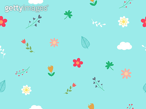 Sweet and cute vector art seamless pattern with blooming flower, clover leaf and cloud on pastel blue sky background look so cute and fresh for love theme on Valentine. Botanicals concept pattern.