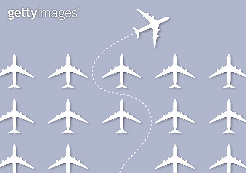 One white plane changing direction ahead of the others, business innovation leadership think different new idea changing trend concept vector illustration