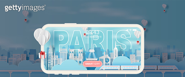 Paper art and craft of Traveling holiday Eiffel tower Paris city France,Travel holiday time transportation train landmarks city pastel color landscape concept, Balloon giftbox Float on air sky.vector.