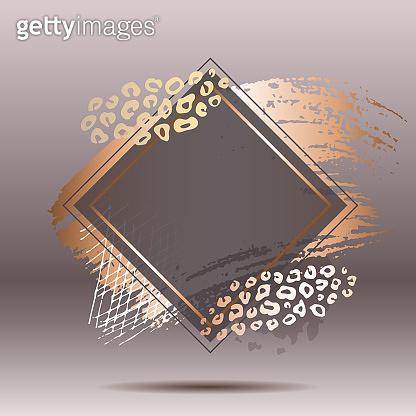 Golden pink art frames. Modern card design, brush stroke, lines, points, gold, premium brochure, flyer