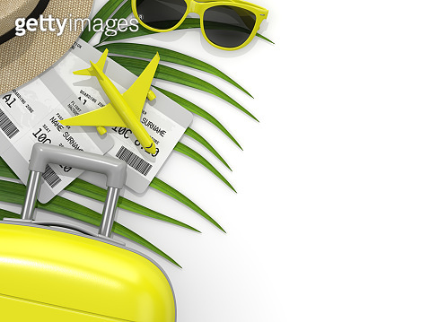 3d render of vacation stuff over white background