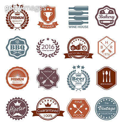 Labels and badges set. Vintage design elements and retro style banners, shields, emblems. Vector illustration.