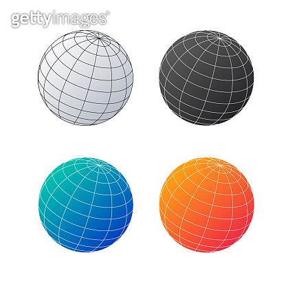 Earth globe set. Planet in different colors. Vector Illustration isolated on white background.