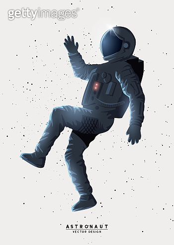 Spaceman Astronaut Floating In Space
