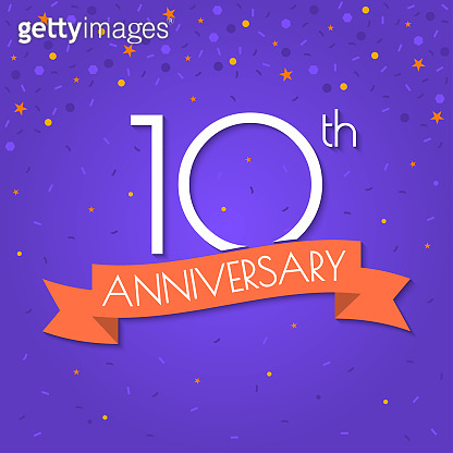 10 years anniversary logo isolated on confetti background. 10th anniversary banner with ribbon. Birthday, celebration, party, invitation card design element. Vector illustration.
