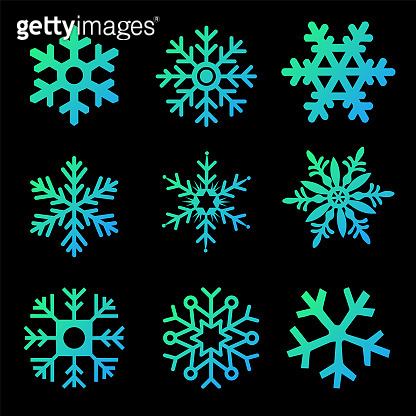 Modern gradient Snowflakes vector set on a black background. Vector pack of snowflakes design templates. Winter decoration elements. Vector illustration isolated on white background.