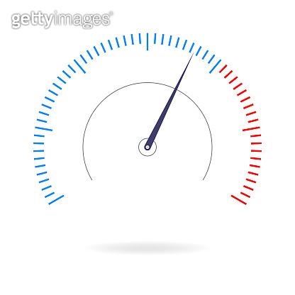 Speedometer icon. Gauge, measure or meter sign for speed test, download, loading interface. Infographics design element. Vector illustration.