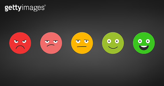 Rating satisfaction. Feedback in form of emotions. Excellent, good, normal, bad awful. Pain scale. Vector illustration isolated on black background.