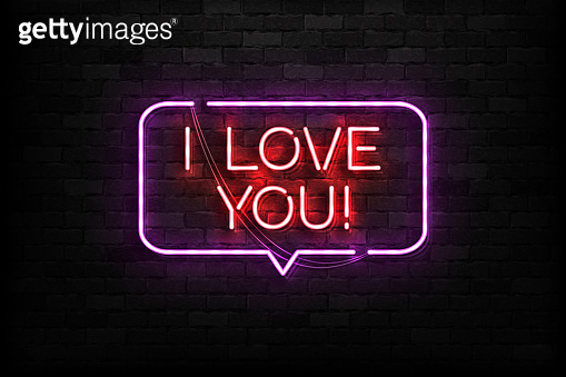 Vector realistic isolated neon sign of I Love You symbol for template decoration and covering on the wall background. Concept of Happy Valentines Day.