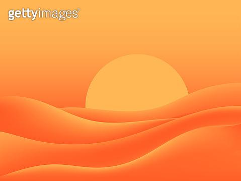 Hot desert, scorching sun. Landscape with sand dunes. Vector illustration