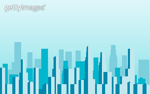 Panorama of city with skyscrapers. Megalopolis. Vector illustration.