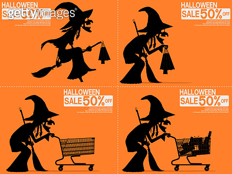 Set of witch are shopping on the Halloween night sale.