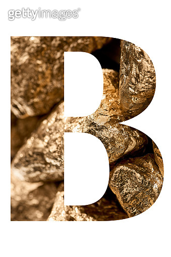 letter B made of shiny golden stones isolated on white