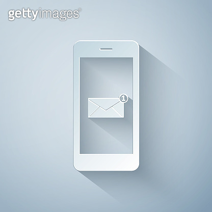 Paper cut Received message concept. New email notification on the smartphone screen icon on grey background. New message on the phone. Mail delivery service. Paper art style. Vector Illustration