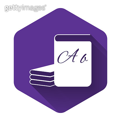 White ABC book icon isolated with long shadow. Dictionary book sign. Alphabet book icon. Purple hexagon button. Vector Illustration