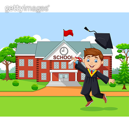 Cartoon graduation boy in front of school building