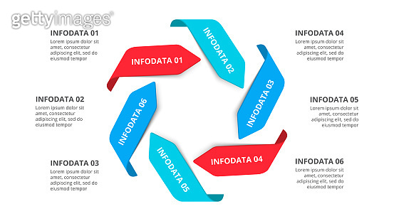 Vector arrows infographic. Cycle diagram with 6 options. Business template for presentation.