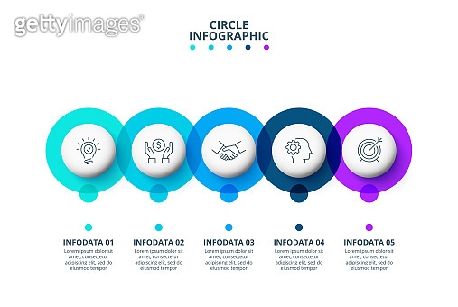 Circle infographic elements. Template for timeline or process chart with 5 options.