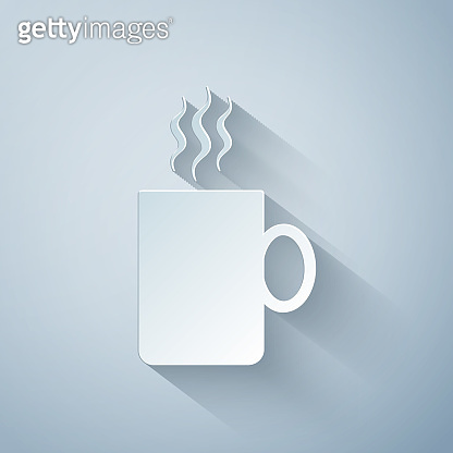 Paper cut Coffee cup flat icon isolated on grey background. Tea cup. Hot drink coffee. Paper art style. Vector Illustration