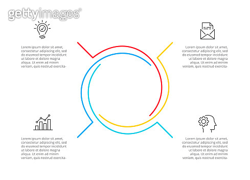 Cyclic lines infographic. Modern infographic design template with 4 options, steps or parts. Flat vector illustration for business presentation.