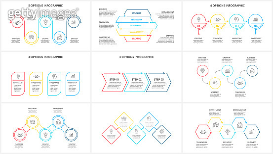 Thin line elements set for infographic. Template for diagram, graph, presentation and chart. Business concept with 3, 4 and 5 options, parts, steps or processes.