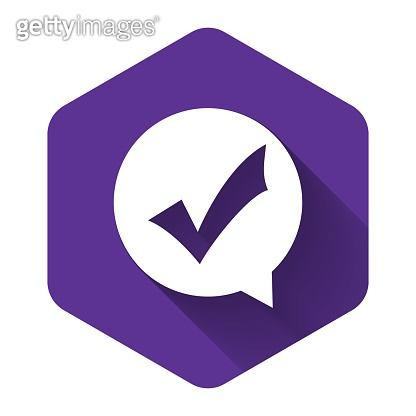 White Check mark in circle icon isolated with long shadow. Choice button sign. Checkmark symbol. Speech bubble icon. Purple hexagon button. Vector Illustration