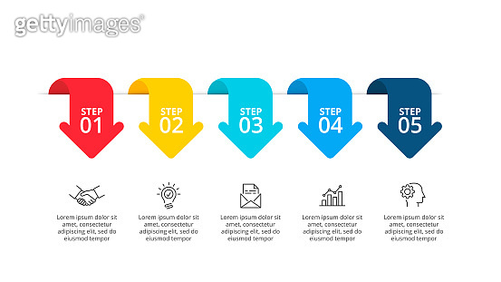 Slide with five arrows. Concept of business process with 5 options. Flat vector illustration for data visualization and analysis. Modern infographic design template.