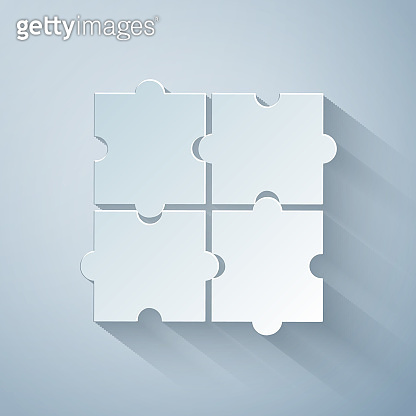 Paper cut Piece of puzzle icon isolated on grey background. Business, marketing, finance, template, layout, infographics, internet concept. Paper art style. Vector Illustration