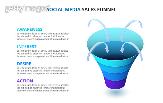 Vector social media sales funnel infographic. Isometric presentation template.