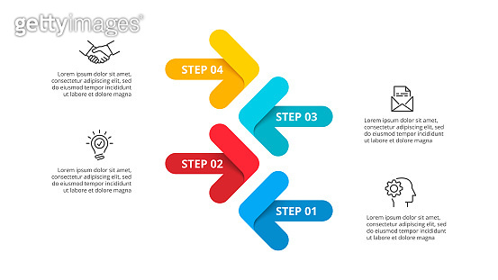 Vector arrows infographic presentation template with 4 options, steps or parts